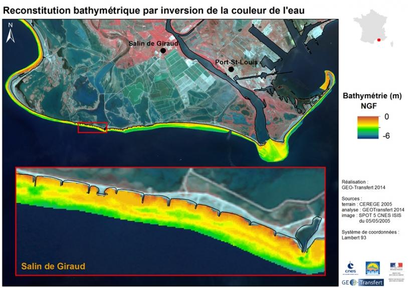 Image Spot : traitement de couleur révèlant la profondeur des eaux littorales
