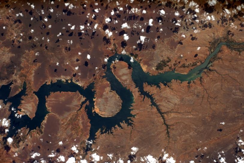 Fleuve d'Amérique du Sud en forme de dragon pris depuis l'ISS par Thomas Pesquet