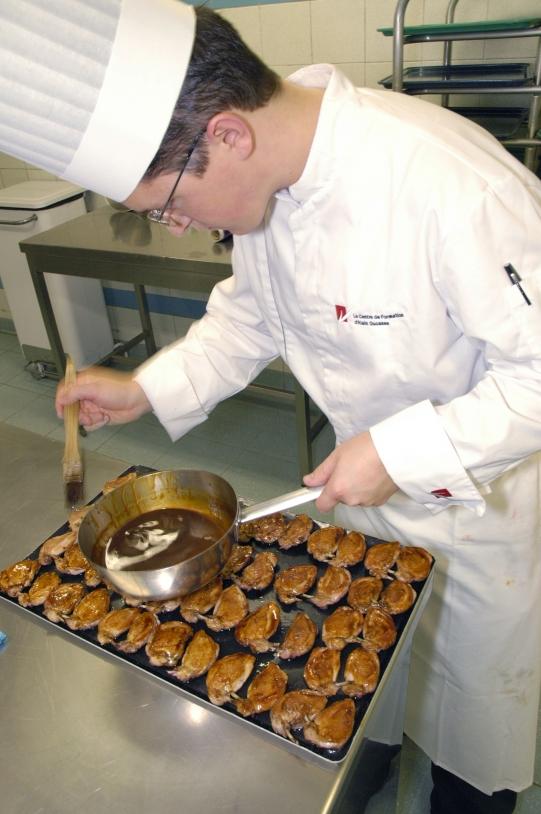Préparation des plats d'Alain Ducasse