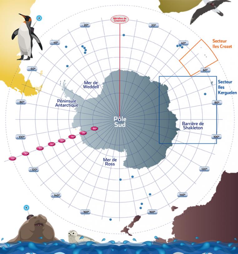 Carte de l'Antarctique dans le cadre du projet Argonautica