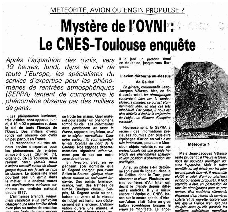 Coupure de presse du 7 novembre 1990 © La Dépêche du Midi/A.Buisson