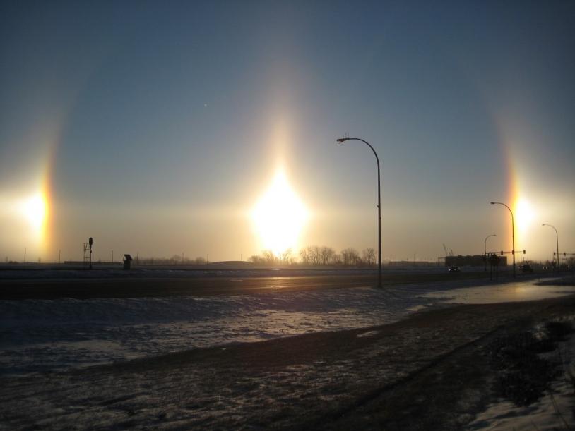 Photo de parhélies, prise à Fargo, au nord du Dakota, en février 2009 © Gopherboy6956 / Wikimedia