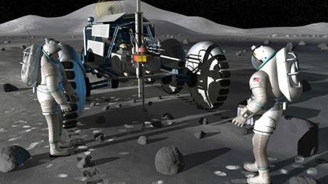 Vue d'artiste montrant deux astronautes exploitant les ressources minières de la Lune. © NASA
