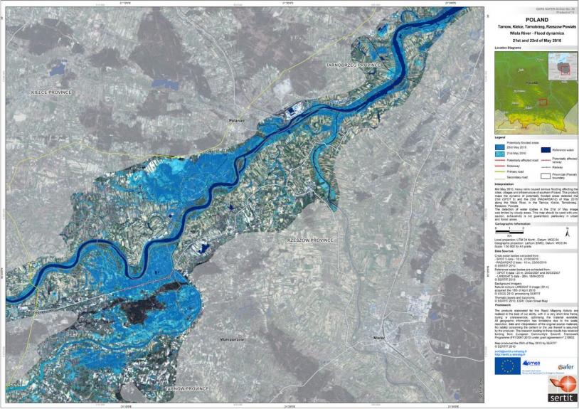 Exemple de carte d'inondation livrée par SAFER et produite par le SERTIT à partir d'une image Radarsat-2 © SERTIT)