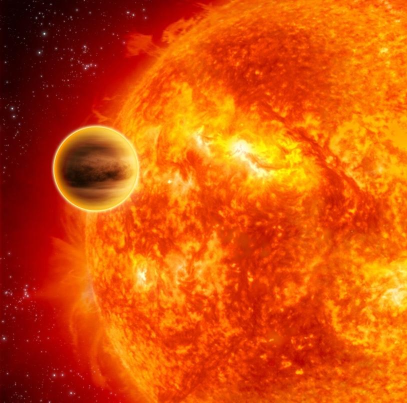 Vue d'artiste de l'exoplanète HD 189733b, dont l'atmosphère contient de la vapeur d'eau © ESA/C. Carreau