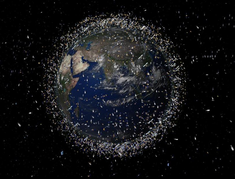 Les pays se partagent actuellement les différentes orbites autour de la Terre. On y trouve des satellites en activités…. Mais aussi de nombreux débris de la conquête spatiale. Crédit : ESA