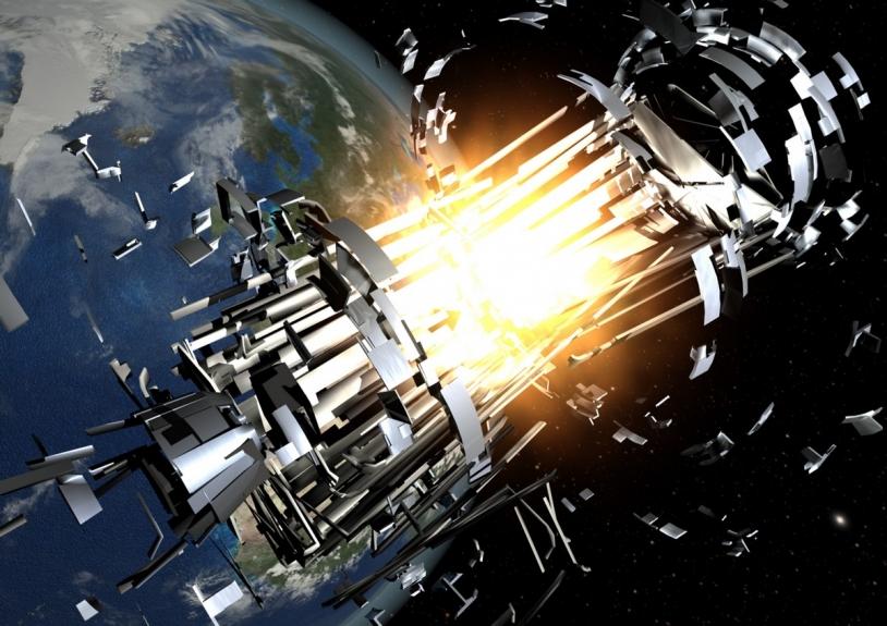 À ce jour, on dénombre quatre collisions entre des débris spatiaux et des satellites. Dans ce cas, qui est responsable des pertes financières, mais aussi des nombreux débris ainsi générés ? © ESA