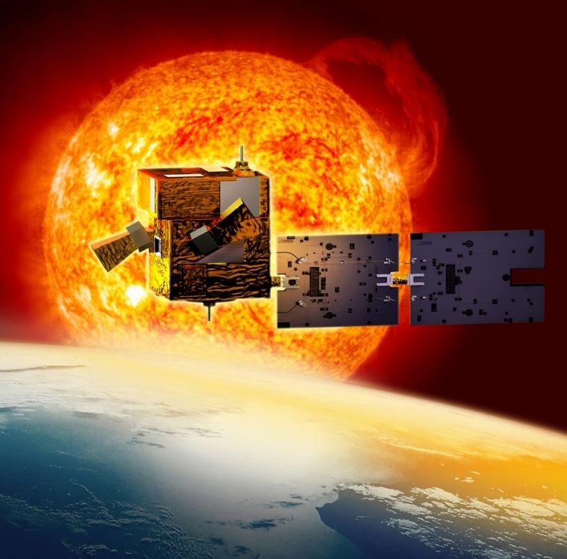 """Bien qu'embarquant plusieurs instruments, le satellite de la mission Picard est de la catégorie """"micro"""" : il ne pèse pas plus de 143 kg ! © CNES/D. Ducros"""