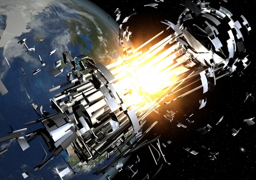 À ce jour, on dénombre quatre collisions entre des débris spatiaux et des satellites. S'il y a explosion, de tels accidents génèrent à leur tour des milliers de nouveaux débris © ESA