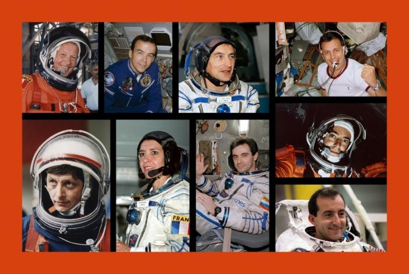 Les 9 astronautes français par ordre de vol © CNES/NPO Energia/NASA
