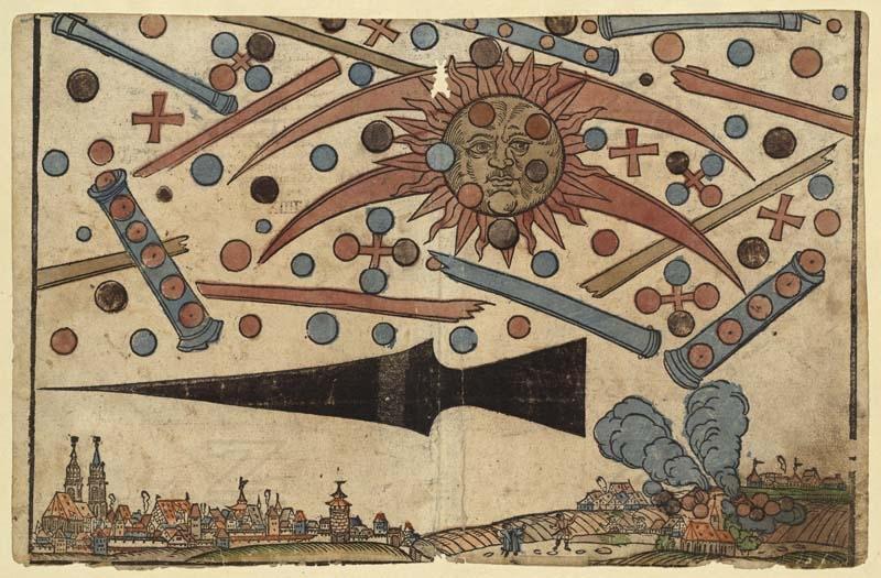 Gravure représentant une bataille aérienne entre Ovnis dans les cieux de Nuremberg, inspirée des observations faites le 4 avril 1561 © Zentralbibliothek Zürich