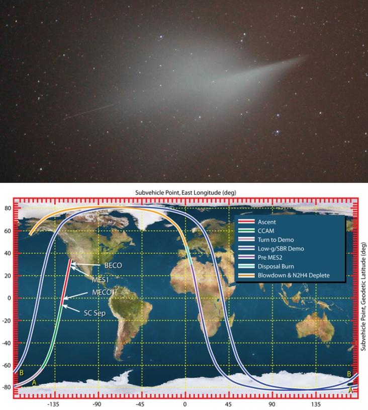 On peut relier le phénomène lumineux observé en France (photo) avec la trajectoire d'une fusée © Lionel Ruiz/ULA