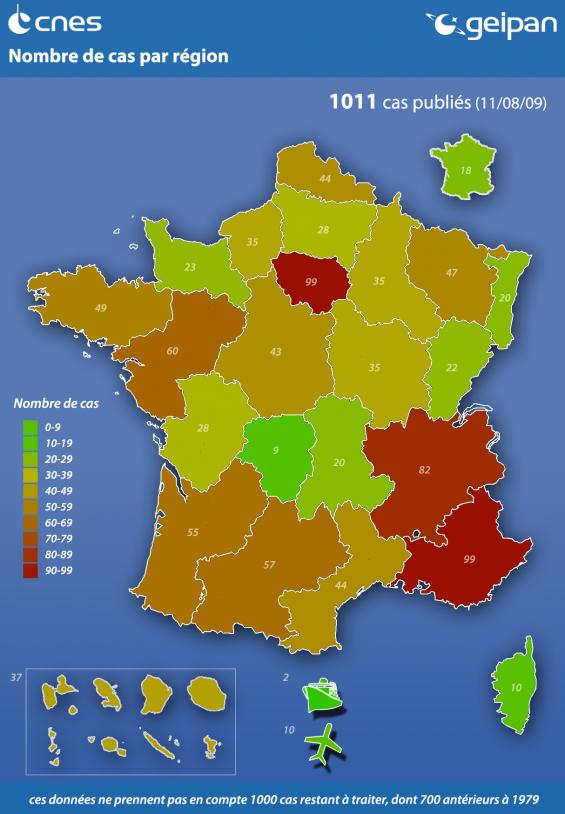 Nombre de cas de PAN par région en 2009 © CNES/Geipan