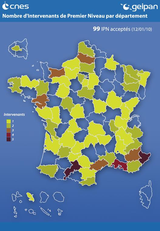 Nombre d'intervenants de 1er niveau par département en 2010 © CNES/GEIPAN