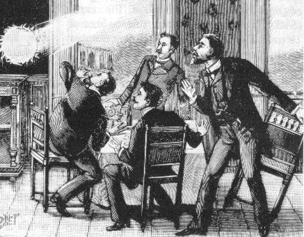 Gravure du XIXè siècle illustrant le phénomène de foudre en boule