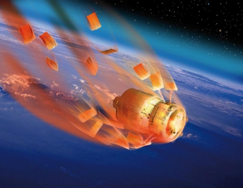 L'ATV Jules Verne a été lancé le 9 mars 2008 en orbite basse. Sept mois plus tard, il a effectué une rentrée atmosphérique contrôlée qui a permis sa désorbitation parfaite © David Ducros/ESA