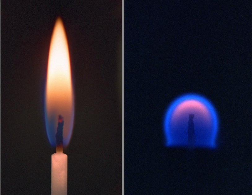 """A gauche, une flamme sur Terre. A droite, la flamme en impesanteur, """"étouffée"""" par les gaz qu'elle a chauffés - © NASA/Lewis Research Center"""