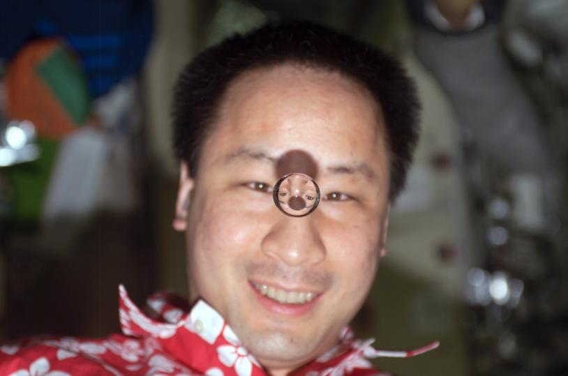Cet astronaute nous sourit et son reflet dans la goutte d'eau aussi. Imaginez que toutes les gouttelettes, postillons et autres indésirables restent en lévitation dans l'air… Il y a de quoi gêner les passagers et leurs expérimentations © NASA