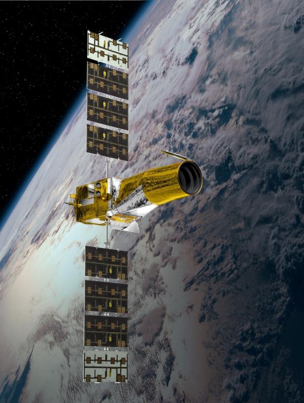 CoRoT est un satellite dédié à l'étude de la structure interne des étoiles et des planètes géantes et à la détection de planètes extrasolaires © CNES/D. Ducros