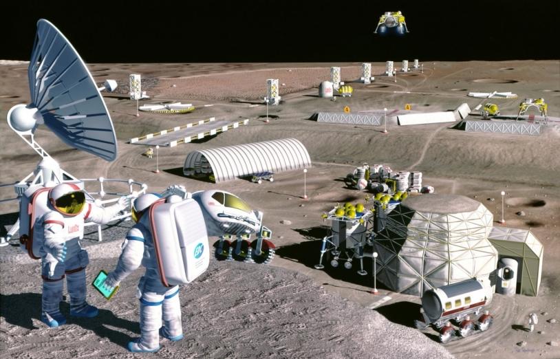 Vue d'artiste d'une possible exploration de Mars © NASA
